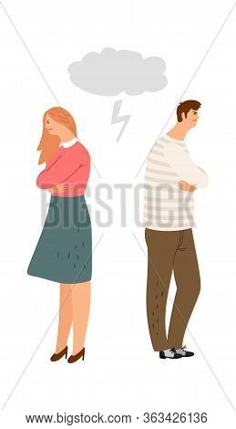 Spouses Offended By Each Other. Husband And Wife Do Not Talk, Family Quarrel. Divorce Or Abusing Vec