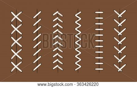 Ball Stitches. Vector Seams Patterns For Baseball Or Hardball, Football And Basketball Leather Balls
