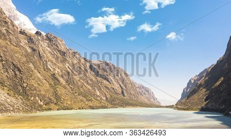 The Llanganuco Lagoon: Chinanqucha And Urqunqucha Lakes Are Located In The Cordillera Blanca, In The