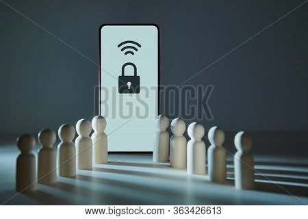 Smartphone With Wifi, Padlock Signs On Screen. Wi-fi Protected Setup. Network Password. Access To Wi