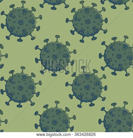Sars-cov-2 Virion Schematic Representation. Seamless Pattern With Regular And Symmetric Elements Dis
