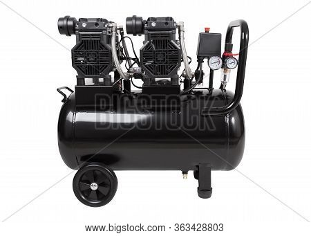 Oil-free Portable Single-stage Air Compressor. Black Air Compressor. Side View. Isolated On A White