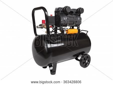 Oil-free Portable Single-stage Air Compressor. Black Air Compressor. Angle View. Isolated On A White