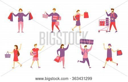 Set Of Characters And People Shopping. Set Of Happy Cartoon People With Bags In Shop. Men And Women