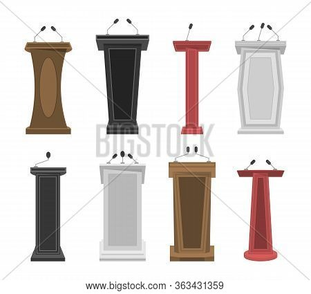 Tribune, Stage, Stand Or Debate Podium Rostrum With Microphones. Collection Of Realistic 3d Pedestal