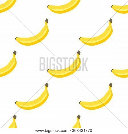 Illustration On Theme Big Colored Seamless Banana, Bright Fruit Pattern For Seal. Fruit Pattern Cons