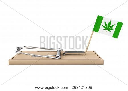 Wooden Mousetrap With Flag And Medical Marijuana Or Cannabis Hemp Leaf Sign On A White Background. 3