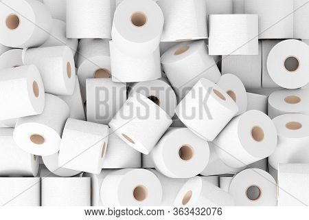 Heap Of Toilet Paper Rolls Extreme Closeup. 3d Rendering