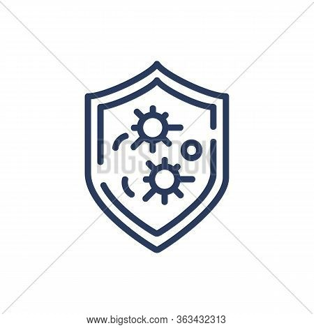 Antivirus Protection Thin Line Icon. Flu, Illness, Microorganism Isolated Outline Sign. Healthcare A