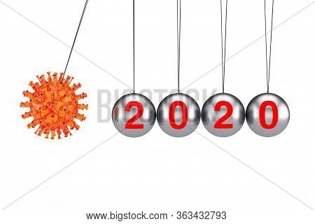2020 Year World Crisis Concept. Coronavirus Covid-19 Cell Attack Newtons Cradle Balancing Ball With