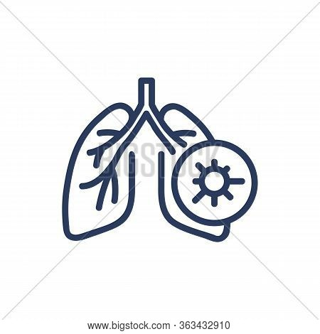 Virus In Lungs Thin Line Icon. Flu, Disease, Organ Isolated Outline Sign. Healthcare And Virology Co