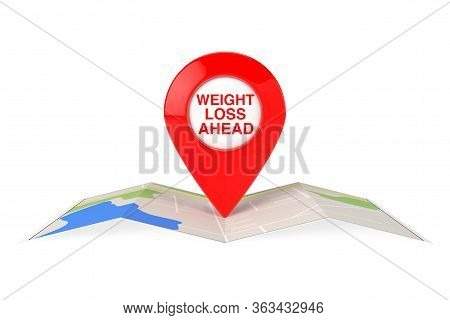 Weight Loss Ahead Red Map Pointer Pin Over City Map On A White Background. 3d Rendering