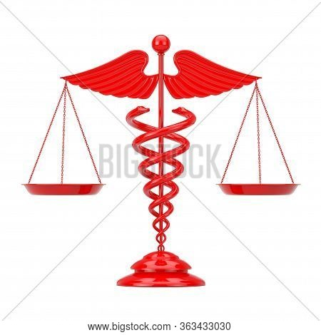 Red Medical Caduceus Symbol As Scales On A White Background. 3d Rendering