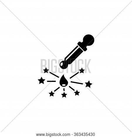 Mixture In Pipette, Magic Drop With Dropper. Flat Vector Icon Illustration. Simple Black Symbol On W