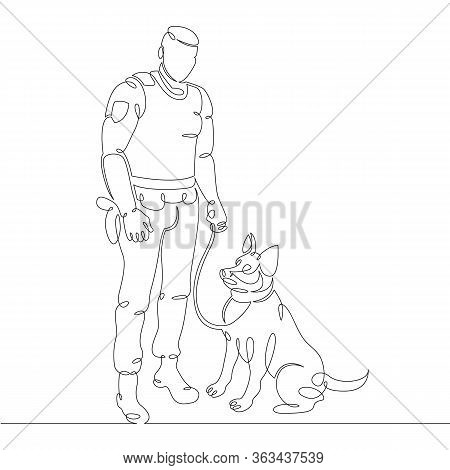 One Continuous Drawing Line Uniformed Police Officer. Police Dog Handler With Dog .single Hand Drawn