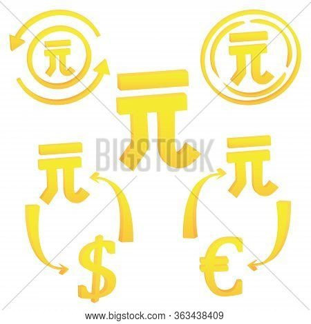 3d Chinese Yan Currency Symbol Of China. Icon Vector Illustration On A White Background