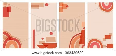 Vector Set Of Abstract Backgrounds In Minimal Style With Copy Space For Text, Rectangular Format. Si