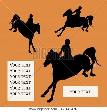 Show Jumping, Sports Girl Galloping On A Horse, Isolated Images, Black Silhouette On A Orange Backgr