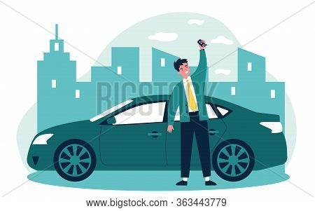 Happy Young Man Leasing Car Flat Vector Illustration. Driver Holding In Hand Keys To His New Vehicle