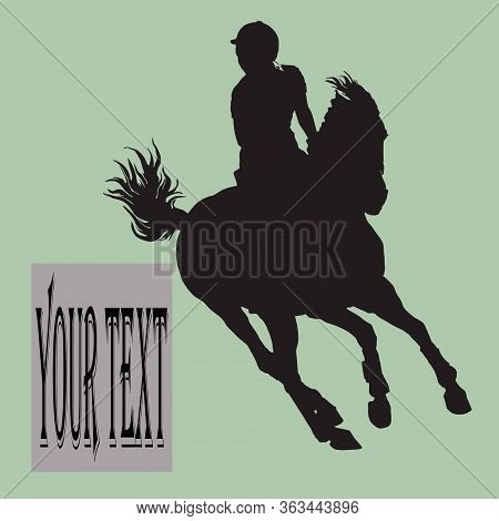 Show Jumping, Sports Girl Galloping On A Horse, Isolated Images, Black Silhouette On A Green Backgro