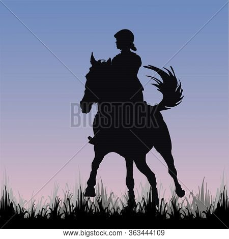 Sport Girl Galloping On A Horse In A Field, On The Grass, Isolated Image, Black Silhouette On A Blue