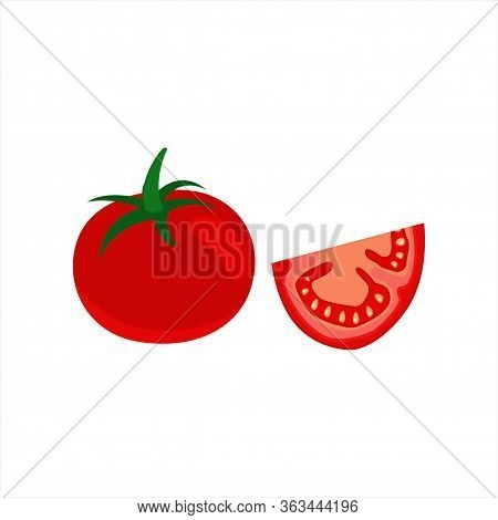Fresh Red Tomatoes And Tomato Slice Isolated Flat Design On White Background. Juicy Ripe Tomato - Ha
