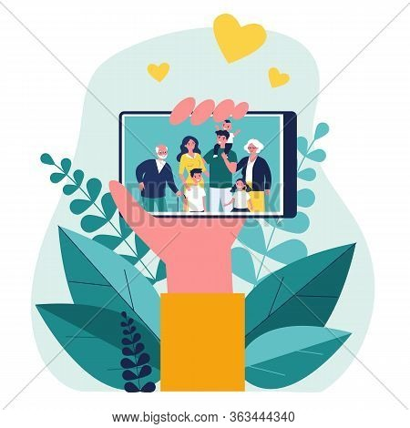 Hand Holding Phone With Family Photo On Screen Flat Vector Illustration. Picture Of Parents, Grandpa