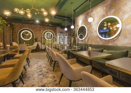Modern Restaurant Or Cafe Interior. Public Place Interior Design, Quarantine Time, Nobody Indoors, C