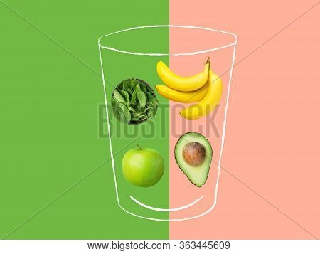 Hand Drawn Sketchy Glass With Green Smoothie Ingredients Fresh Raw Spinach Apples Bananas Avocado On