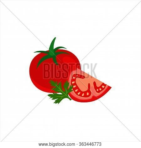 Juicy Ripe Tomato And Slice Of Tomato With Parsley Closeup Isolated Flat Design Illustration Vector.