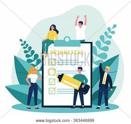 Happy Young People Making Important Notes And Choice Flat Vector Illustration. Cartoon Characters Do