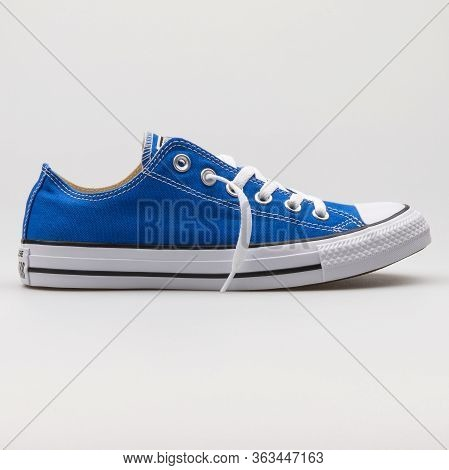 Vienna, Austria - February 19, 2018: Converse Chuck Taylor All Star Ox Royal Blue And White Sneaker