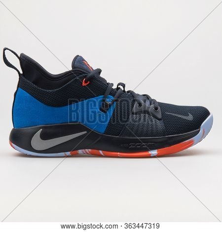 Vienna, Austria - February 19, 2018: Nike Pg 2 Dark Obsidian, Blue And Silver Sneaker On White Backg