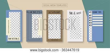 Social Stories Cool Vector Layout. Modern Sale, New Arrivals Story Layout. Blogger Trendy Frame, Soc