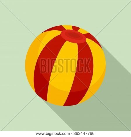 Circus Ball Icon. Flat Illustration Of Circus Ball Vector Icon For Web Design