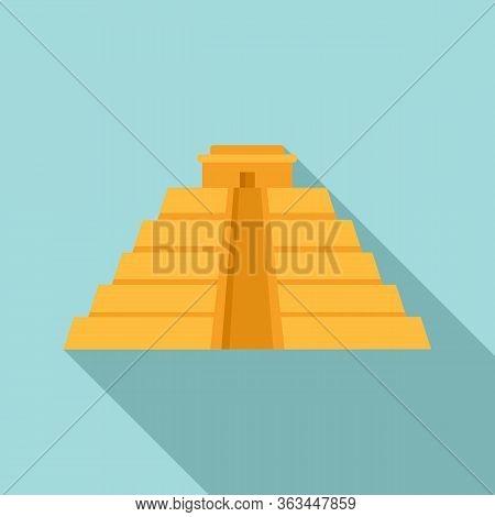 Maya Pyramid Icon. Flat Illustration Of Maya Pyramid Vector Icon For Web Design