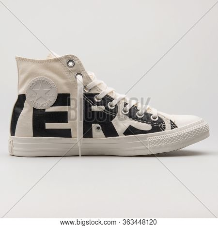 Vienna, Austria - February 19, 2018: Converse Chuck Taylor All Star High White And Black Sneaker On