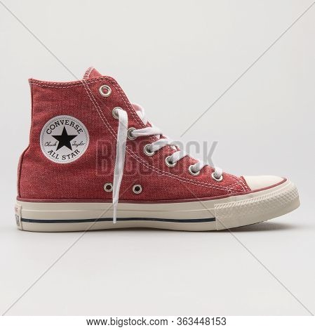 Vienna, Austria - February 19, 2018: Converse Chuck Taylor All Star High Red Sneaker On White Backgr