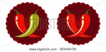 Vector Set Emblems With Red And Green Chilli Peppers. Vector Emblems Jalapeno Or Chilli Peppers. Chi