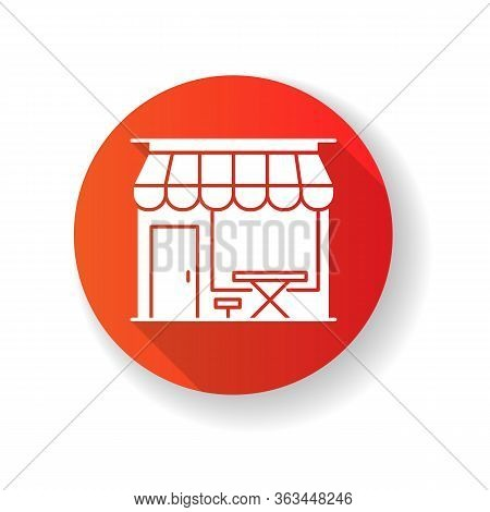 Cafe Front Red Flat Design Long Shadow Glyph Icon. Coffeeshop Storefront. Cafeteria Exterior. Bistro