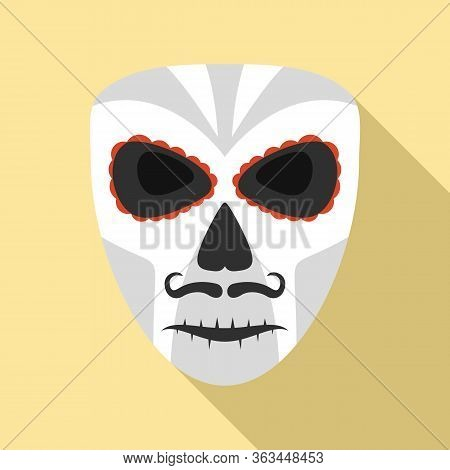 Dead Mexican Mask Icon. Flat Illustration Of Dead Mexican Mask Vector Icon For Web Design