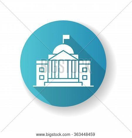 State Institution Blue Flat Design Long Shadow Glyph Icon. Supreme Court Building Entrance. National