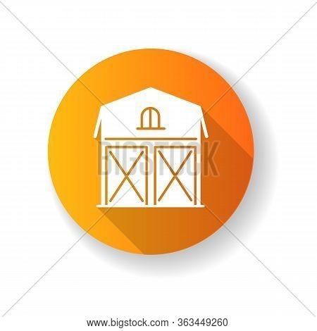 Barn Orange Flat Design Long Shadow Glyph Icon. Farming Storage Construction Facade. Grain Warehouse