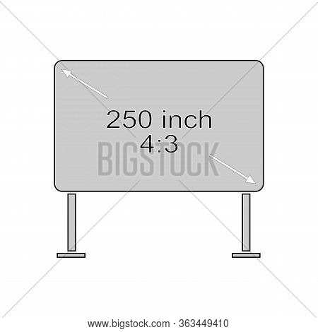 4 To 3 Monitor On White Background. Modern Screen. Template With Code And Size Text Message.