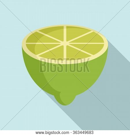Half Lime Icon. Flat Illustration Of Half Lime Vector Icon For Web Design