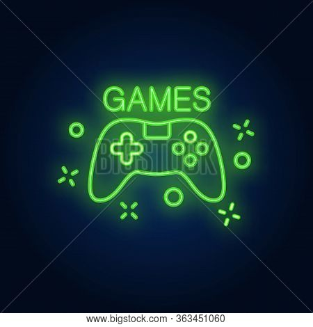 Console With Games Lettering. Neon Sign On Brick Background. Videogame, Online Game, Hobby. Game Con