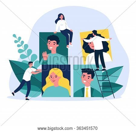 Recruiters Analyzing Job Candidates. Hr Professionals Changing Employees Pictures. Vector Illustrati