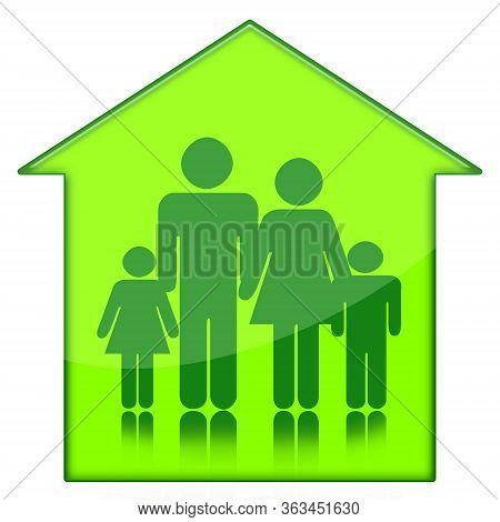 Family At Home Green Icon Isolated On White Background