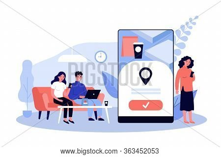 People Using Online App For Food Delivery. Customers Ordering Food In Cafe Or Restaurant And Eating
