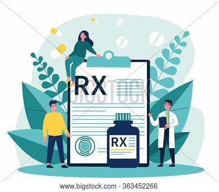 Pharmacist And Patients Presenting Rx Prescription. Doctor Recommending Painkiller Drugs. Vector Ill